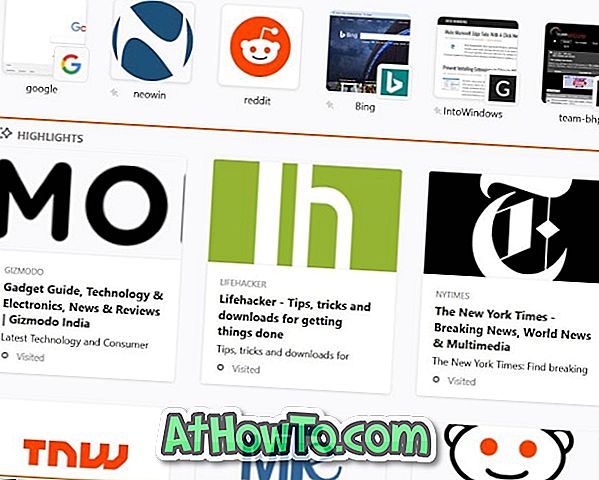 फ़ायरफ़ॉक्स 57 में नए टैब से वेबसाइट हाइलाइट कैसे निकालें