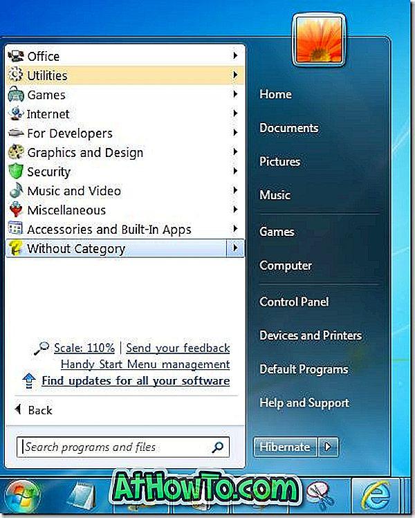 편리한 시작 메뉴가 자동으로 시작 메뉴 프로그램 구성