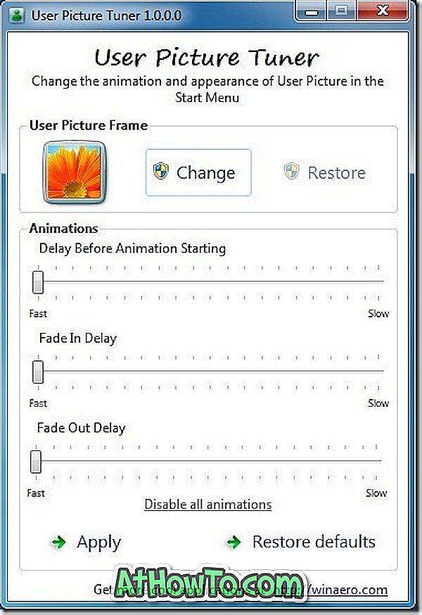Benutzer-Picture-Tuner: Tweak-Startmenü Benutzerbild-Animationseinstellungen