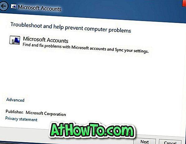 Résoudre les problèmes de synchronisation et les problèmes de compte Microsoft dans Windows 8 avec le dépannage officiel