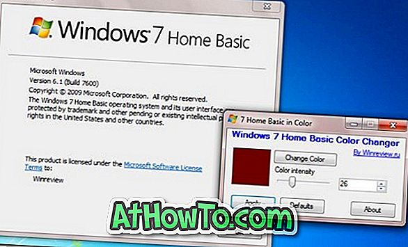 Venster- en taakbalkkleur wijzigen in Windows 7 Home Basic-editie met Home Basic Color Changer