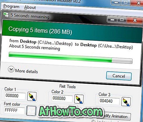 Бързо персонализирате копиране / преместване / изтриване на анимации в Windows 7 с 7 копиране / изтриване на анимация