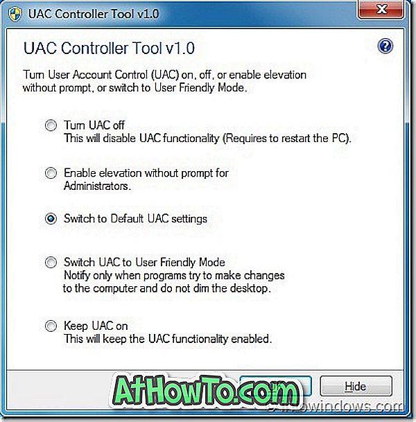 UAC Denetleyici Aracı, UAC Ayarlarını Sistem Tepsisinden Değiştirmenize İzin Verir