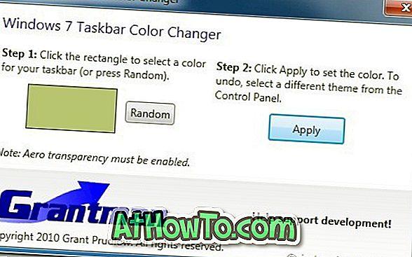 Cambia Colore barra delle applicazioni con la barra delle applicazioni di Windows 7 Color Changer