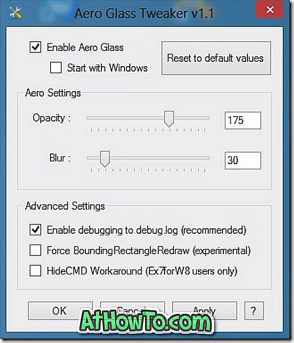 """Aero Glass Tweaker"": įrankis ""Windows 8 Aero"" ir ""Tweak"""