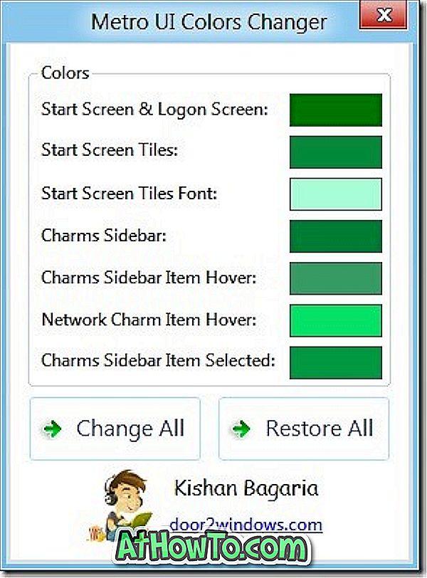 Metroo kasutajaliidese värvi muutja Windows 8 jaoks