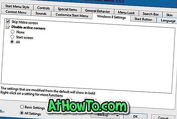 Klasik Kabuk, Windows 8'de Başlangıç Ekranını Atla ve Sıcak Köşeleri Devre Dışı Bırak