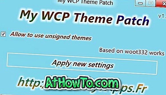 My WCP Theme Patch gør det muligt at installere visuelle stilarter fra tredjeparter i Windows 8