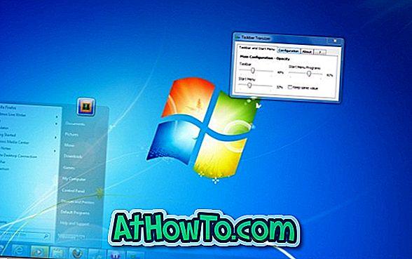 Konfigureerige Windowsi 7 tegumiriba ja menüü Start Läbipaistvus Taskbar Transizer abil