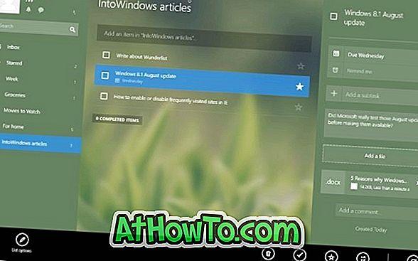 Wunderlist App für Windows 10/8 veröffentlicht