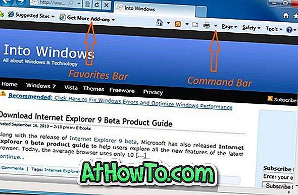 A parancssor és a kedvencek sáv engedélyezése az Internet Explorer 9 programban