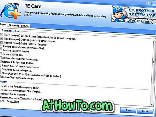 IE Care hjælper dig med at rengøre, reparere og sikre Internet Explorer Browser
