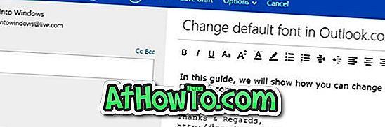 Az alapértelmezett betűtípus és a betűszín módosítása az Outlook.Com programban