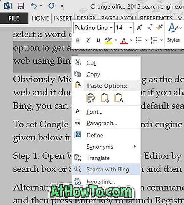 """Nustatykite """"Google"""" kaip numatytąjį paieškos variklį """"Office 2013"""""""