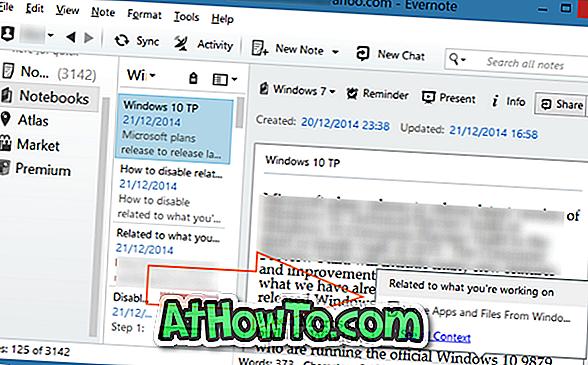 """Deaktivieren Sie den Vorschlag """"In Bezug auf das, woran Sie gerade arbeiten"""" in Evernote"""