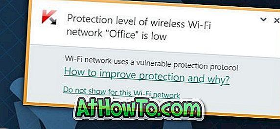 Kaspersky द्वारा वायरलेस वाई-फाई नेटवर्क का संरक्षण स्तर कम संदेश है