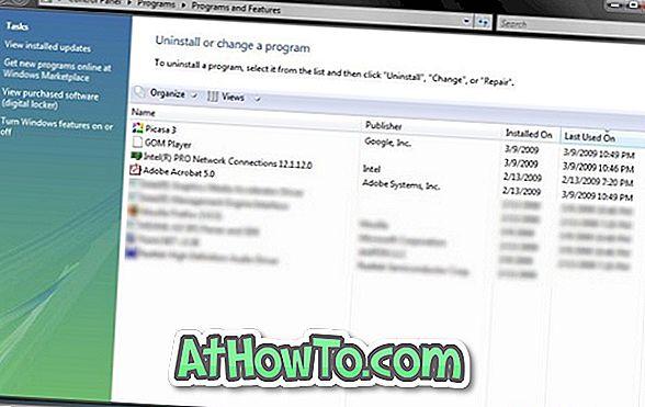 Comment connaître la date et l'heure de la dernière utilisation de toutes les applications dans Windows 7 / Vista