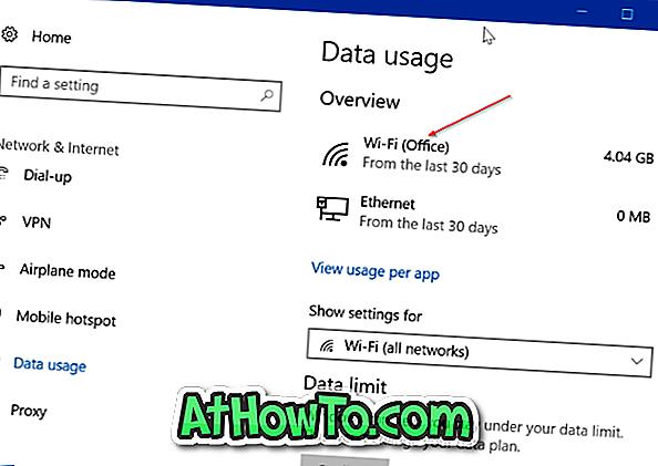 Überprüfen Sie die Datennutzung für einzelne Netzwerke in Windows 10