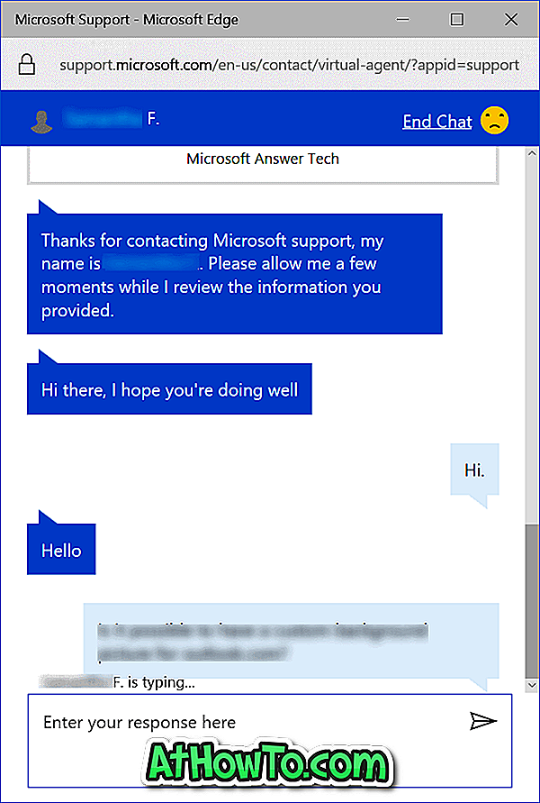 Chat med Microsoft Support Agent Online