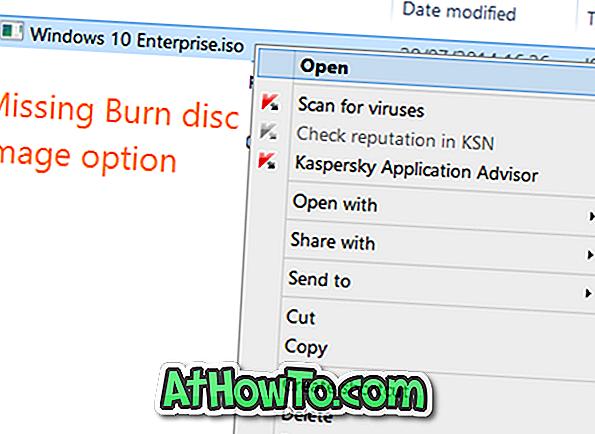 """Fix: """"Burn Disc Image"""" opcija Trūkst no konteksta izvēlnes"""