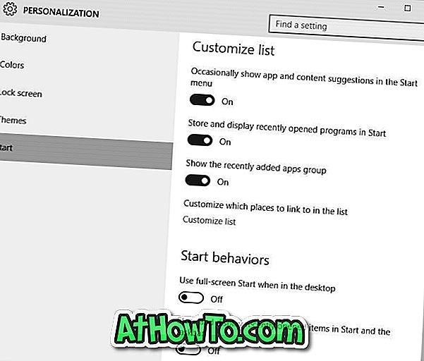 Atveriet sākuma izvēlnes iestatījumus operētājsistēmā Windows 10