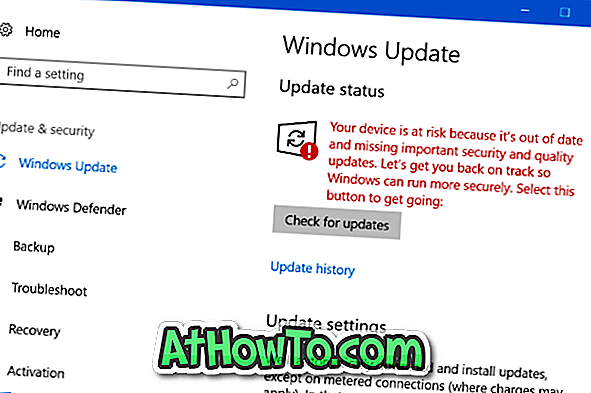 """Jūsų įrenginys yra rizikuojamas, nes jis yra nepasiekiamas """"Windows 10"""" žinutėje"""