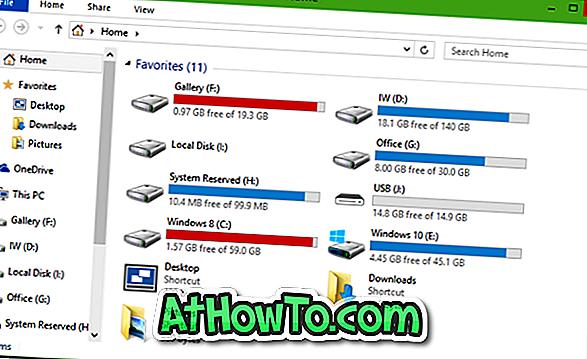 Kā parādīt cieto disku starpsienas zem ātrās piekļuves sistēmā Windows 10