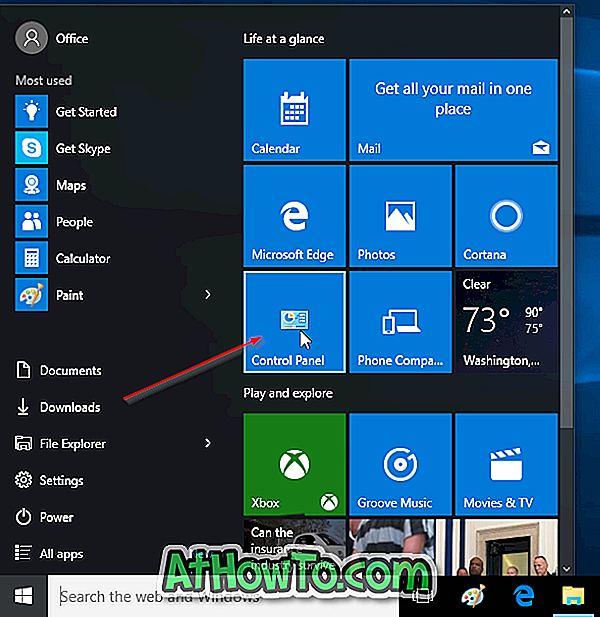 Come aggiungere il pannello di controllo al menu Start in Windows 10
