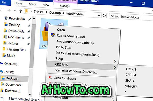 """Kā noņemt """"CRC SHA"""" no konteksta izvēlnes Windows 10/7/8"""