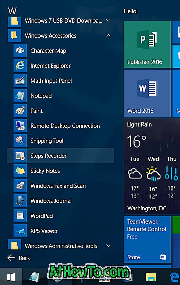 Priedų aplankas Trūksta iš meniu Pradėti Windows 10