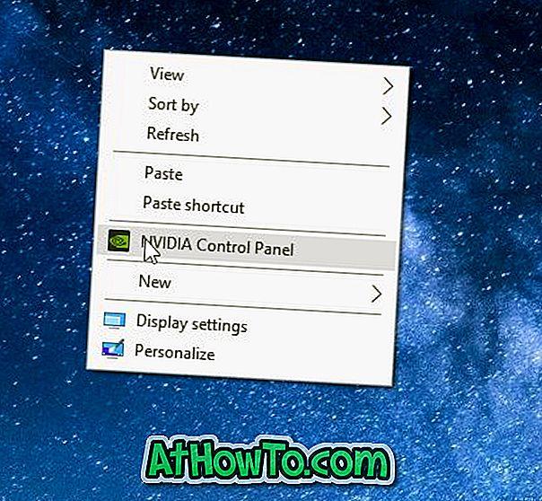 Az NVIDIA vezérlőpult eltávolítása az asztali jobb oldali egérgombbal Kattintson a Menü gombra
