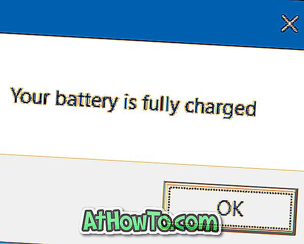 Sådan får du fuld meddelelse om batteriet i Windows 10