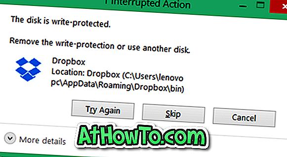 Dysk jest chroniony przed błędem zapisu na dyskach USB