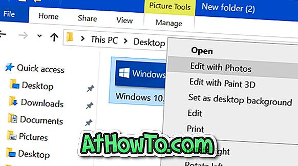 Usuń Edycja z opcją zdjęć z menu kontekstowego Windows 10