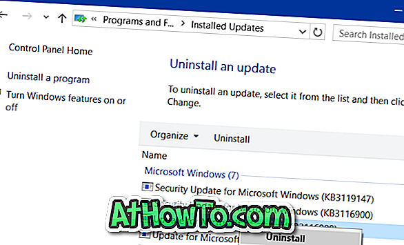 Come disinstallare un aggiornamento in Windows 10