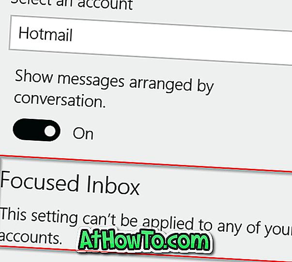 Fokussierter Posteingang: Diese Einstellung kann nicht auf eines Ihrer Konten angewendet werden
