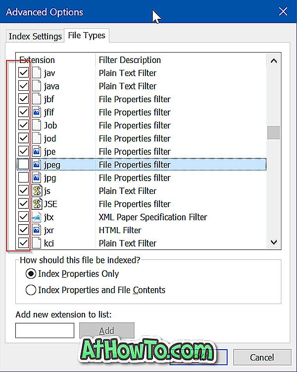 Teatud failitüüpide peitmine otsingutulemustest Windows 10-s