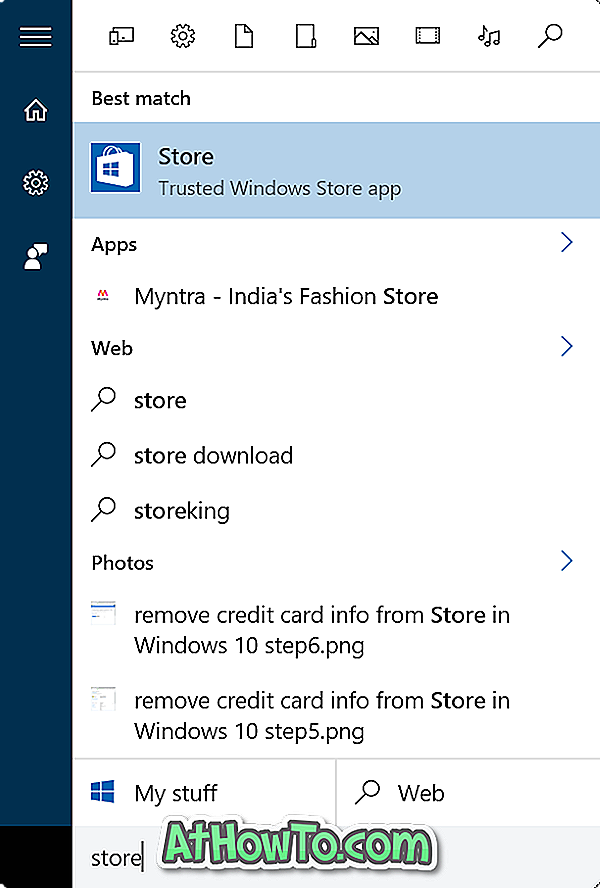 Entfernen Sie Kreditkarteninformationen aus dem Windows Store in Windows 10