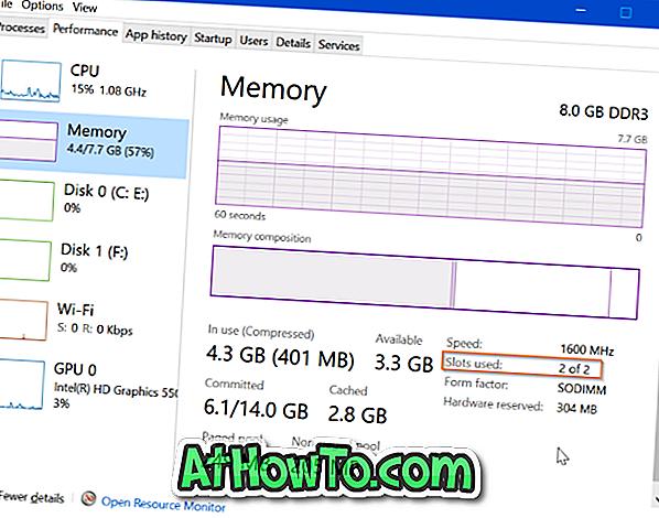 Så här kontrollerar du använda och tomma RAM-kortplatser på Windows 10-bärbara datorn