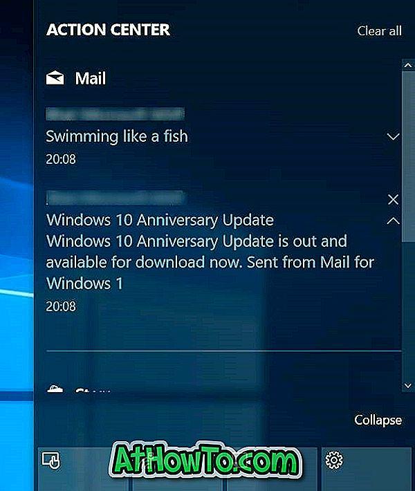 เปิด / ปิดการแจ้งเตือนอีเมลใน Windows 10 Action Center