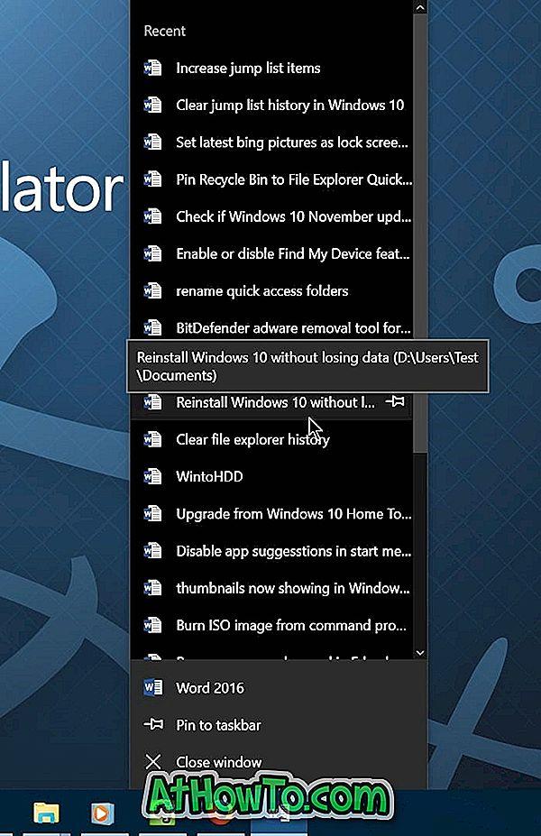 """Padidinkite elementų skaičių šuolių sąrašuose """"Windows 10"""""""