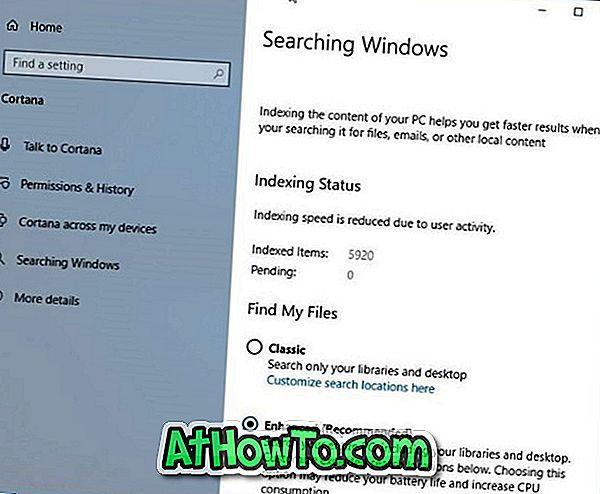 Включване или изключване на подобрен режим за търсене на индексатор в Windows 10