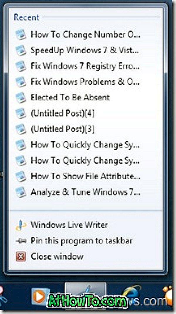 Cum de a schimba numărul de articole recente de afișat în listele de salarizare Windows 7
