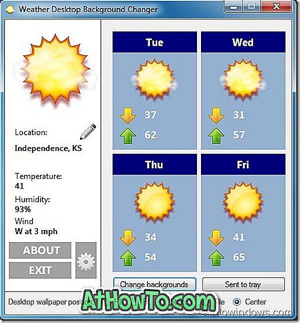 Windows 7-Desktophintergrund automatisch ändern, wenn sich das Wetter ändert
