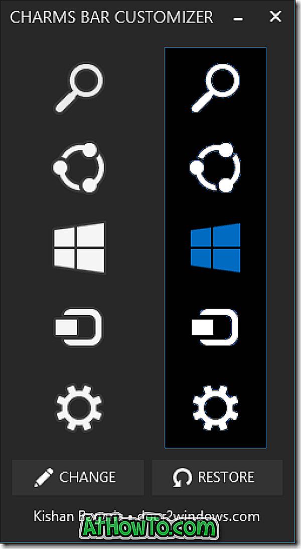 チャームバーカスタマイザを使用してWindows 8.1チャームバーアイコンを変更する