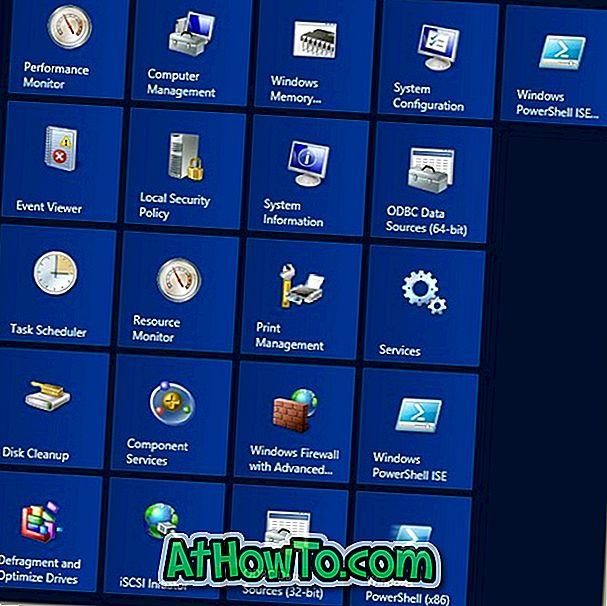 Kā pieslēgt visus administratora rīkus sākuma ekrānam Windows 8