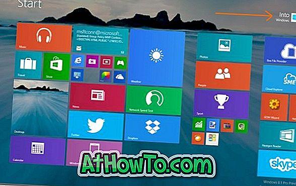 Microsofti konto nime ümbernimetamine Start-ekraanil Windows 8.1
