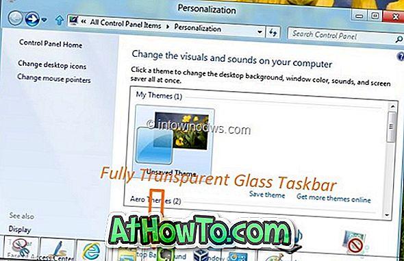 Bug în Windows 8 vă ajută să activați Bara de activități transparentă din sticlă