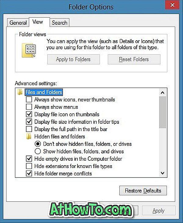 Kaip atidaryti aplanko parinktis sistemoje Windows 8