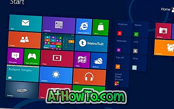 Aggiungi Shut Down, Restart, e Hibernate To Start Screen in Windows 8